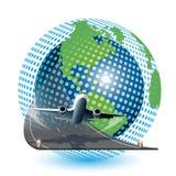 Aviation. Illustration, plane on blue globe on white background Stock Images