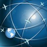 Aviation. Illustration, plane on blue globe on white background Royalty Free Stock Photography