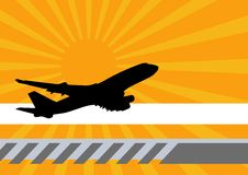 Aviation. An illustration of a commercial plane against an orange background royalty free illustration