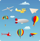 Aviation. Themed set of various types of aircraft Royalty Free Stock Photos