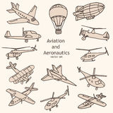 Aviation and Aeronautics objects vector collection Royalty Free Stock Photography