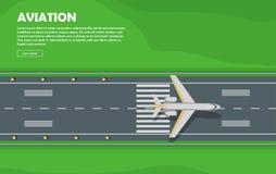 Aviation. Aircraft. Runway. Flight. Vector Banner. Aviation vector illustration of airplane. Plane, airport, runway, takeoff, grass, marking, lights. Vector stock illustration