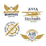 Aviation and airplane retro styled icons. Aviation and airplanes retro symbols. Vintage biplane, airplane propeller and wings isolated icon for flying club Stock Image
