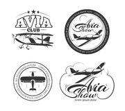 Aviation, airplane vector badges, logos, emblems, labels. Aviation and airplane vector logo set. Avia club badges,  avia show emblems and avia travel labels Stock Image