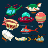 Aviation, Airplanes, Space Shuttles, Hot Air Balloons Set. Aviation Airplanes Space Shuttles Hot Air Balloons Collection royalty free illustration