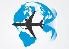 Aviation around the globe. Vector illustration Royalty Free Stock Photos