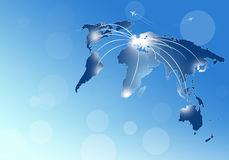Aviation Background. World aviation directions from europe and other continents Stock Photography