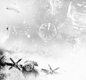 Aviation background. Aviation collage in grunge style Royalty Free Stock Images