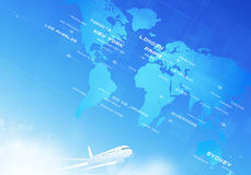 Aviation Background. World aviation directions all over the business cities Royalty Free Stock Photography