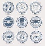 Aviation badges. Round retro badges, set of nine. EPS10 Stock Images