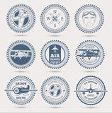 Aviation badges. Round retro badges, set of nine. EPS10 vector illustration
