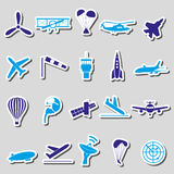 Aviation big set of simple blue stickers eps10 Stock Image