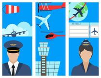 Aviation brochure set airline station airport symbols departure terminal plane flayer tourism vector illustration Stock Photos
