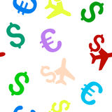 Aviation Business Seamless Flat Vector Pattern. Aviation Business vector repeatable pattern with dollar and euro currency symbols. Style is flat colored icons on Stock Image