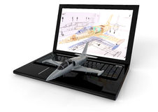Aviation CAD. 3D render image of a laptop with an airplane on keyboard representing aviation CAD n Royalty Free Stock Photography