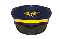 Aviation Cap. Front view of an isolatade aviation hat on white background Stock Photo