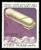 Aviation, Captive balloon CA-11. Vietnam - CIRCA 1983: A stamp printed by Vietnam, Multicolor memorable edition offset printing on the topic of balloons, series Royalty Free Stock Photos