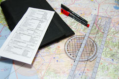 Aviation chart and planning intruments. Aviation vfr chart and planning instruments for pilots Stock Photo