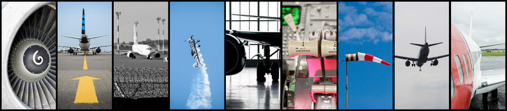Aviation collage. A collage of aviation industry moments Stock Photos