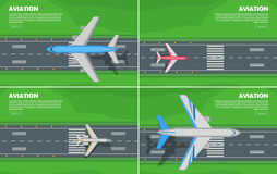 Aviation Conceptual Flat Style Web Banner. Aviation conceptual banners. Passenger aircraft landing or takes off on airport runway with green lawn on sides flat Stock Image