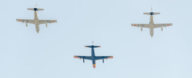 The Aviation Day near Aviators Statue. Airplane in the air. Bucharest, Romania. Royalty Free Stock Photo