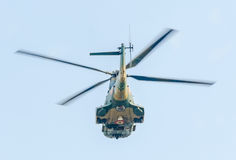 The Aviation Day near Aviators Statue. Helicopter in the air. Bucharest, Romania. Stock Photo
