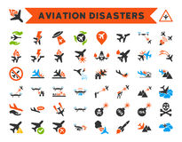 Aviation Disasters Icons. Aviation Disasters Icon Collection. Here are airplane crashes, terrorist attacks, military drones, plane accidents Stock Photo