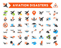 Aviation Disasters Vector Icons Stock Photos