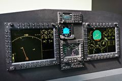 Aviation electronic devices for aircraft navigation at exhibition. Aviation electronic devices for aircraft navigation at the exhibition royalty free stock photos