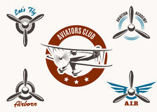 Aviation Emblem Set. Retro aviation and pilot club badge and label set. Free font used.  on white Royalty Free Stock Images