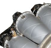 Aviation engine. Close-up view of part of aviation engine. Isolated on a white background Stock Photography