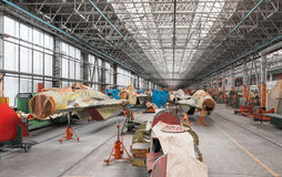 Aviation factory of military aircraft. Assembly of the Russian multirole fighter. Stock Photos