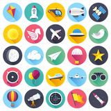 Aviation Flat Long Shadow Icon Set. Flat style with long shadows, everything up in the air, aviation themed vector icon illustration Stock Photo