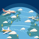 Aviation global logistic concept, cartoon style. Aviation global logistic concept. Cartoon illustration of aviation global logistic vector concept for web Stock Photos