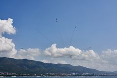 An aviation group of six MiG-29 aircraft show a figure of fireworks against the backdrop of Gelendzhik Bay. stock image
