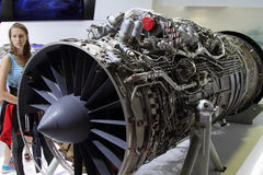 Aviation high-temperature turbojet dual-circuit engine AL-41F-1S. Moscow Region - July 21, 2017: Aviation high-temperature turbojet dual-circuit engine AL-41F-1S Stock Images