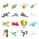 Aviation Icon Set, cartoon style Royalty Free Stock Image