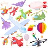 Aviation Icon Set, cartoon style Stock Image