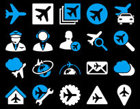 Aviation Icon Set. These flat bicolor icons use blue and white colors. Vector images are isolated on a black background Stock Image