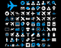 Aviation Icon Set. These flat bicolor icons use blue and white colors. Vector images are isolated on a black background stock illustration