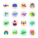 Aviation Icon Set, pop-art style Stock Images
