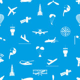Aviation icons blue and white seamless pattern eps10 Stock Photography