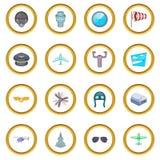 Aviation icons circle Stock Photos