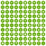 100 aviation icons hexagon green Royalty Free Stock Images
