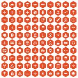 100 aviation icons hexagon orange. 100 aviation icons set in orange hexagon isolated vector illustration royalty free illustration
