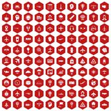 100 aviation icons hexagon red. 100 aviation icons set in red hexagon isolated vector illustration Stock Photography