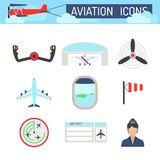 Aviation icons set airline station airport symbols departure terminal plane stewardess tourism vector illustration Stock Images