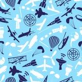 Aviation icons set blue seamless pattern eps10 Stock Photo