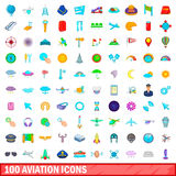 100 aviation icons set, cartoon style. 100 aviation icons set in cartoon style for any design vector illustration Royalty Free Stock Photography