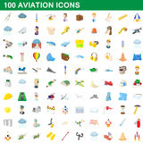 100 aviation icons set, cartoon style Stock Photo